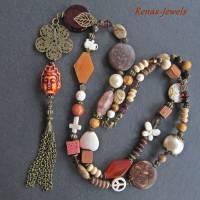 Bettelkette Perlen Kette lang Boho Kette Anhänger Edelstein Buddha Ethno bronzefarben Bild 5