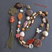 Bettelkette Perlen Kette lang Boho Kette Anhänger Edelstein Buddha Ethno bronzefarben Bild 6