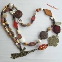 Bettelkette Perlen Kette lang Boho Kette Anhänger Edelstein Buddha Ethno bronzefarben Bild 7