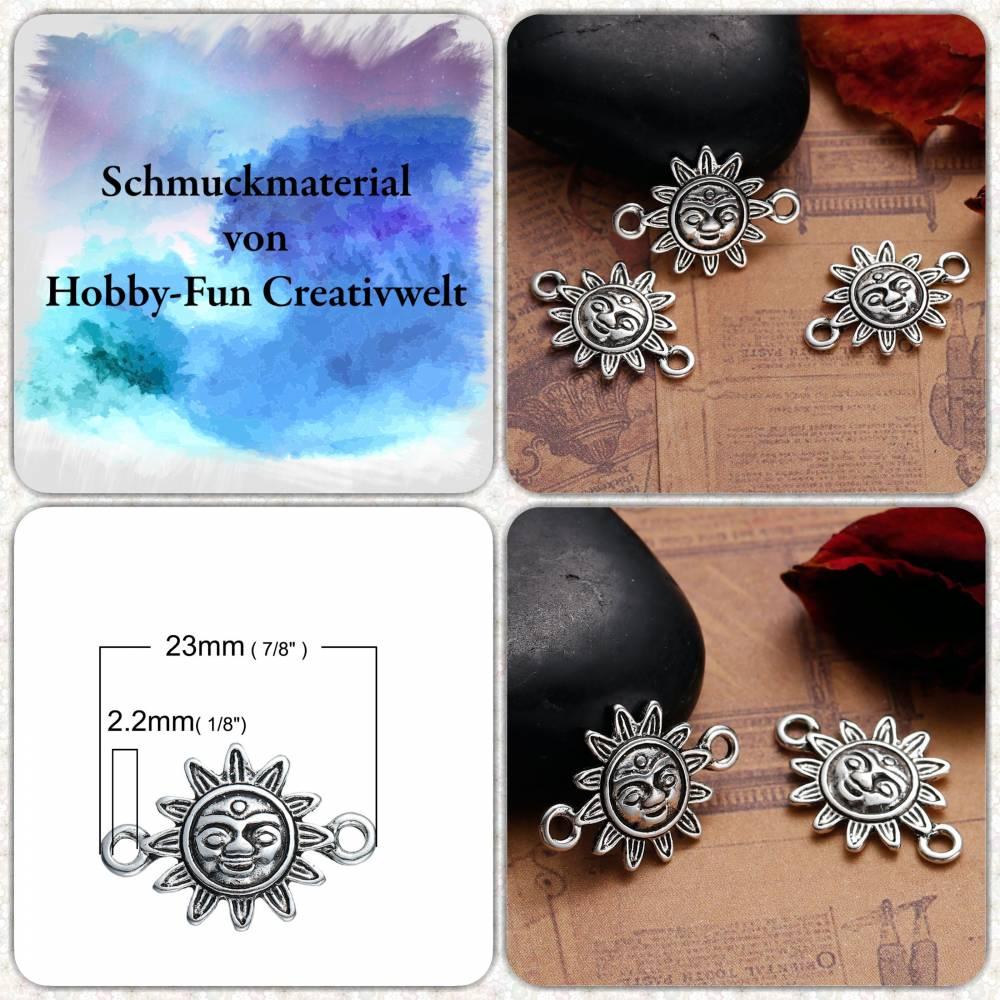 Silberfarbener Sonnenverbinder, ca. 24x17x3mm Bild 1