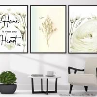 *Home* 3er Set in Grün Handlettering Print Poster Kunstdruck Bild mit Spruch Zitat Frühlingsblumen Bild 1