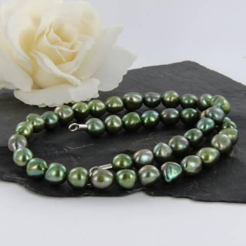 hell grüne echte Perlenkette mit Silber Karabinerverschluss 47 cm
