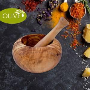 Mörser aus Olivenholz - ø 14 cm zum Zerkleinern von Gewürzen und Kräutern, Pfeffer & Salz Bild 1