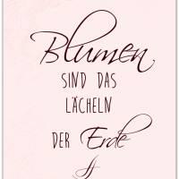 BLUMEN SIND DAS LÄCHELN... 3er Set in Rosè Handlettering Print Poster Kunstdruck Bild mit Spruch Zitat Frühlingsblumen Bild 3