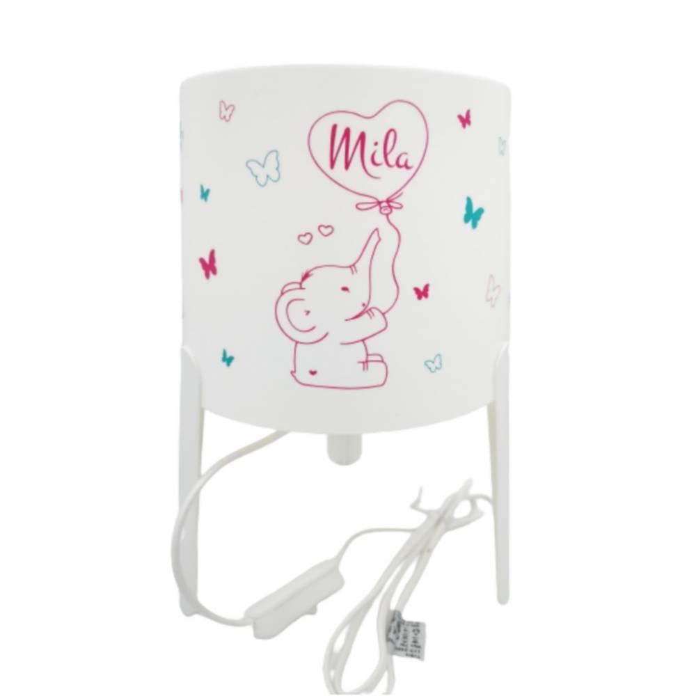 Kinderlampe/Tischleuchte mit Elefant & Ballon & Namen in pink/türkis Bild 1