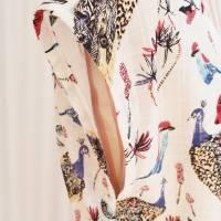 """Sommerkleid """"Pfau"""" * ecru * in Größe M mit V-Ausschnitt * Bindegürtel * Nahttaschen * Bild 4"""