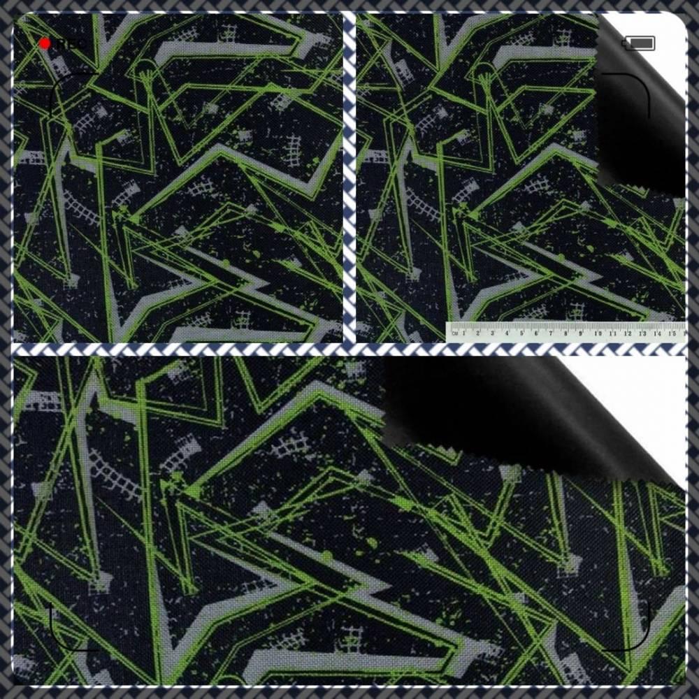 PERMIUM Outdoorstoff MUSTER schwarz grau neon bedruckt 360 g / m² Größenauswahl Bild 1