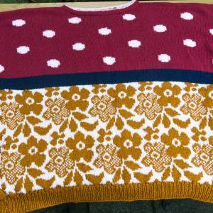 Vintage Baumwoll-Pulli, sommer-Sweater, Pullover, handgestrickt, Vintage, Mustermix, weinrot, weiß, sonnengelb, Ende der Bild 1