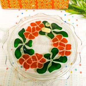 Kuchenplatte, Seventiens, Tortenplatte, Gebäckplatte, Glasplatte, Flotter Power Ära, 1970er Jahre, rot, grün, Walther Kr Bild 1