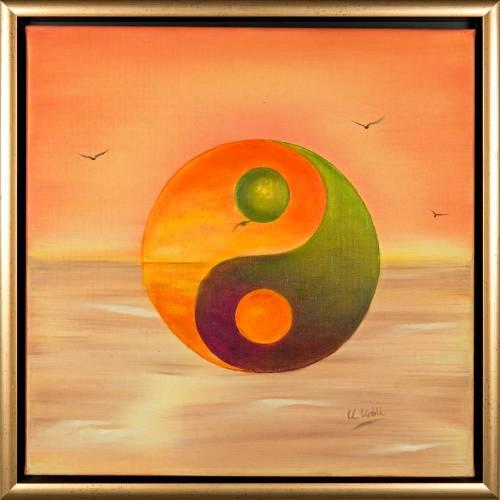 Yin & Yang - Original Ölmalerei, gerahmt