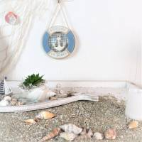 Wohndeko maritim Holz-Rettungsring, hellblau, Floristikdeko Bild 4