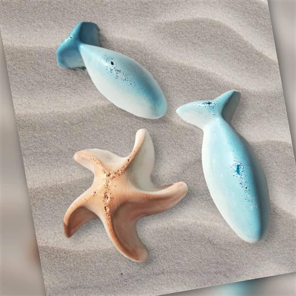 3x Duftstein Aromastein Duftpender Diffusor Mitgebsel handmade neu, Set Fisch und Seestern Bild 1