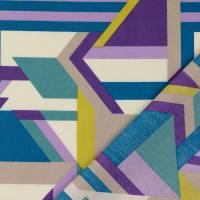 Tillisy Baumwolle Popeline geometrische Formen petrol/flieder (1m /10,00€) Bild 1