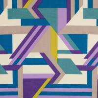 Tillisy Baumwolle Popeline geometrische Formen petrol/flieder (1m /10,00€) Bild 2
