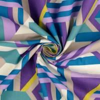 Tillisy Baumwolle Popeline geometrische Formen petrol/flieder (1m /10,00€) Bild 3
