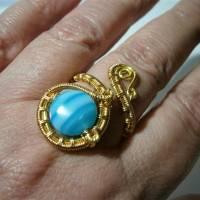Ring mit Achat blau türkis gestreift handgewebt in goldfarben verstellbar Paisley boho Bild 4