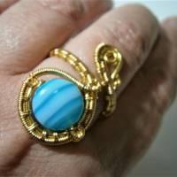 Ring mit Achat blau türkis gestreift handgewebt in goldfarben verstellbar Paisley boho Bild 5