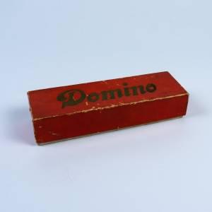 Dominospiel, Spiel vermutlich aus den 1960er Jahren, Gesellschaftsspiel Domino, Spielsteine aus Holz, in Original Schach Bild 1