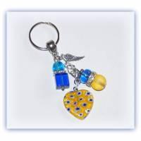 Schlüsselanhänger Millefiori Herz Engelsflügel GlasPerlenelemente Bild 1