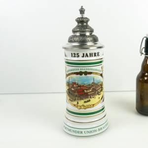 Vintage Bierkrug, Bierseidel, Werbung, Brauerei Geschenk, mit Zinndeckel, Sammlerstück Dortmunder Union Brauerei Bild 1