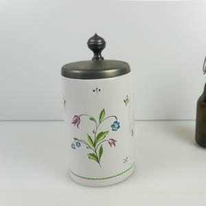 Vintage Bierkrug, Bierseidel, Keramik, Werbung, Krug mit Zinndeckel, Sammlerstück, 1991, Privatbrauerei Stauder Bild 1
