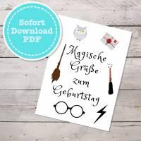 Harry Potter Geburtstagskarte mit Umschlag als sofort Download, PDF zum ausdrucken Bild 1