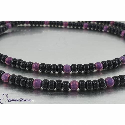 Brillenkette  / Maskenkette / Kette mit zauberhaften violetten Perlen und schwarzen böhmischen Rocailles Perlen