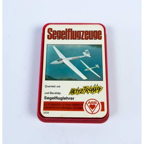 Kartenspiel, Quartett aus den 1960er Jahren, Thema Segelflugzeuge, von Altenburger Stralsund, ASS, vollständig, ohne Dec