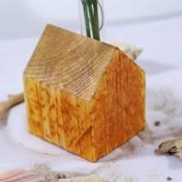 Vase aus Holz, Reagenzglas, DIY, Haus, Altholz, Tischdeko, Wohndeko, Blumenvase, Vase in Hausoptik Bild 3