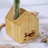 Vase aus Holz, Reagenzglas, DIY, Haus, Altholz, Tischdeko, Wohndeko, Blumenvase, Vase in Hausoptik Bild 6