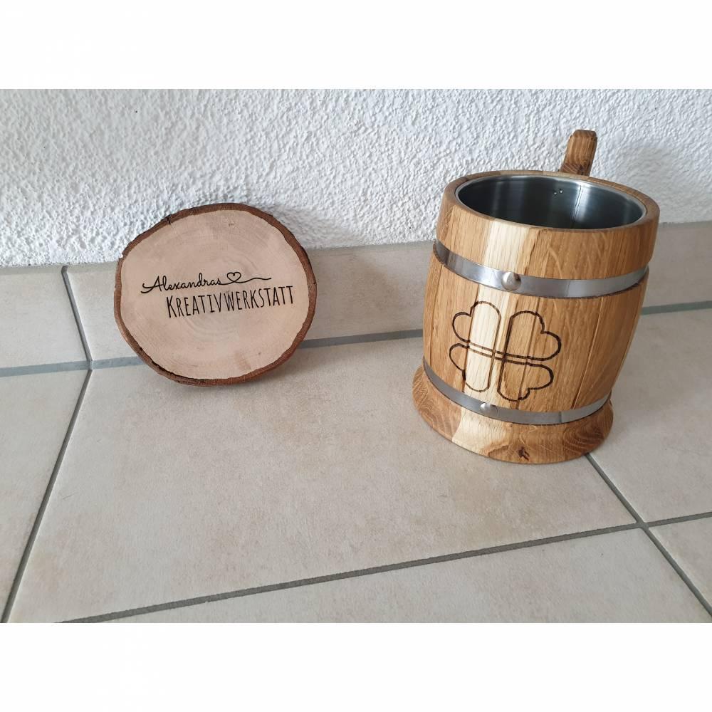 Bierkrug aus massivem Eichenholz Eiche Krug Holzkrug ca. 0,5L Edelstahleinsatz, Bierliebhaber, Bierkenner Bild 1