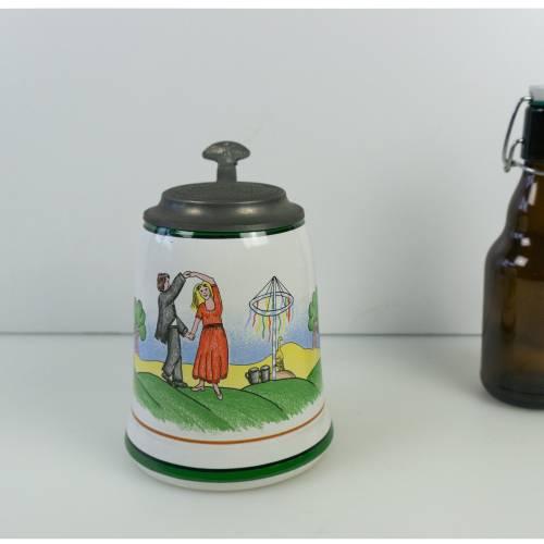 Vintage Bierkrug, Bierseidel, Keramik Krug, Werbung, Brauerei, Krug mit Zinndeckel, Sammlerstück, 1996, Frankenheimer Al