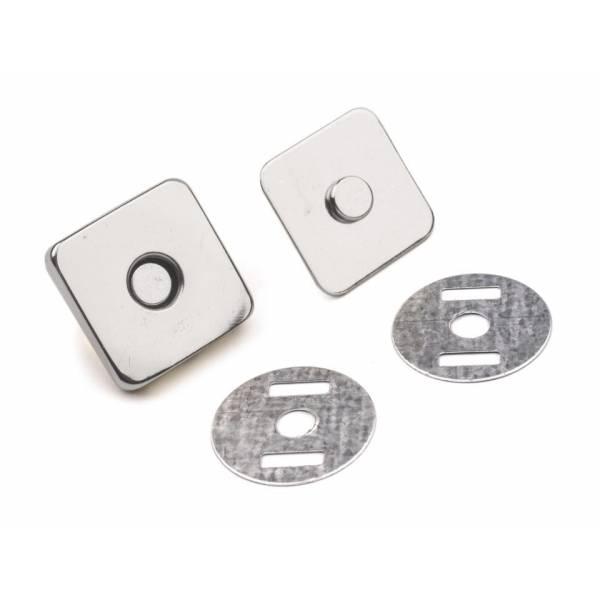 5 Magnetverschlüsse 18mm Quadrat silber Bild 1