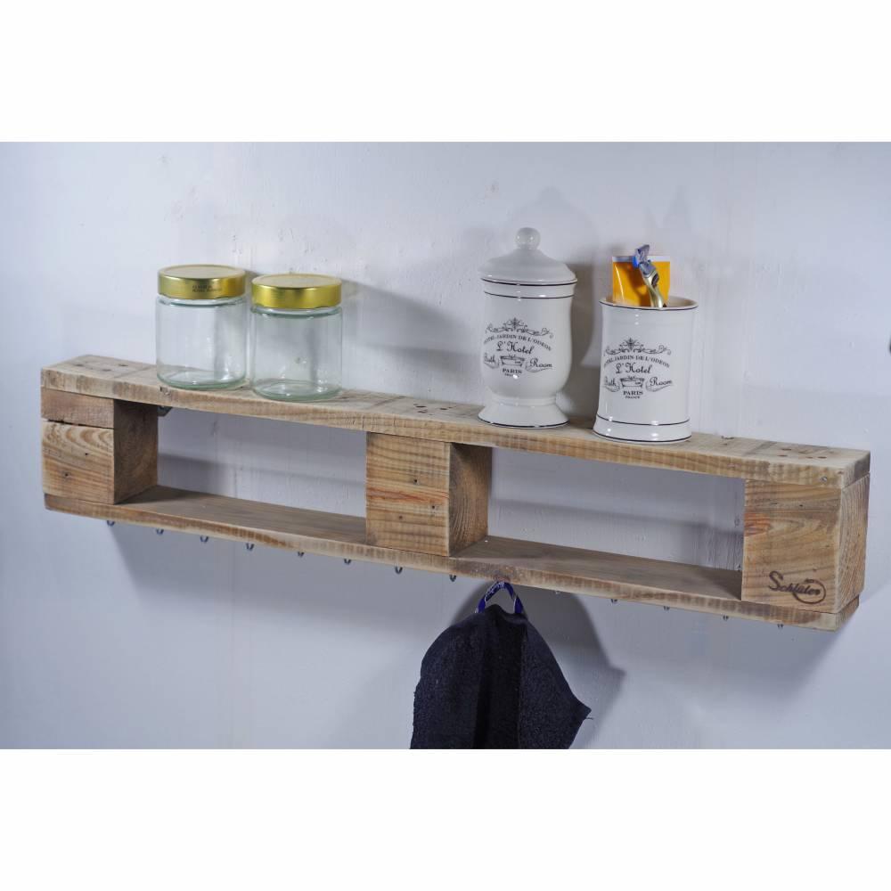 Regal aus Palettenholz, für Schmuck, schlicht, Wandregal, mit Haken zur Aufhängung von Modeschmuck, Schmuckregal aus Hol Bild 1