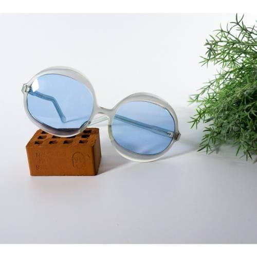 Retro Brille, große blaue Gläser, Vintage Brille, keine optischen Gläser, Brille aus den sixties, Boho und Hippie