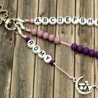 Rechenkette mit ABC und Namen rosa/lila Bild 1