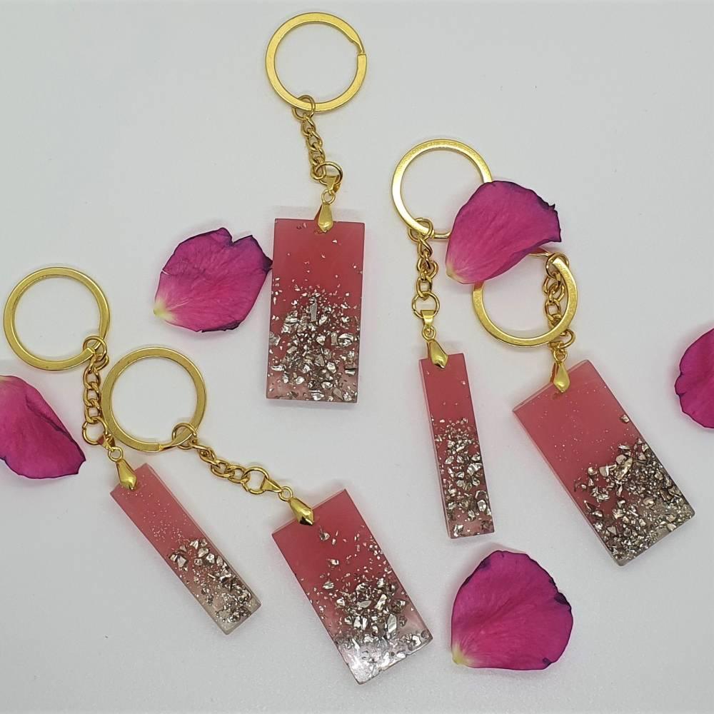 Schlüsselanhänger Schlüsselband Schlüsselkette Buchstaben Harz rosa gold Steinchen Bild 1