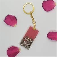 Schlüsselanhänger Schlüsselband Schlüsselkette Buchstaben Harz rosa gold Steinchen Bild 6