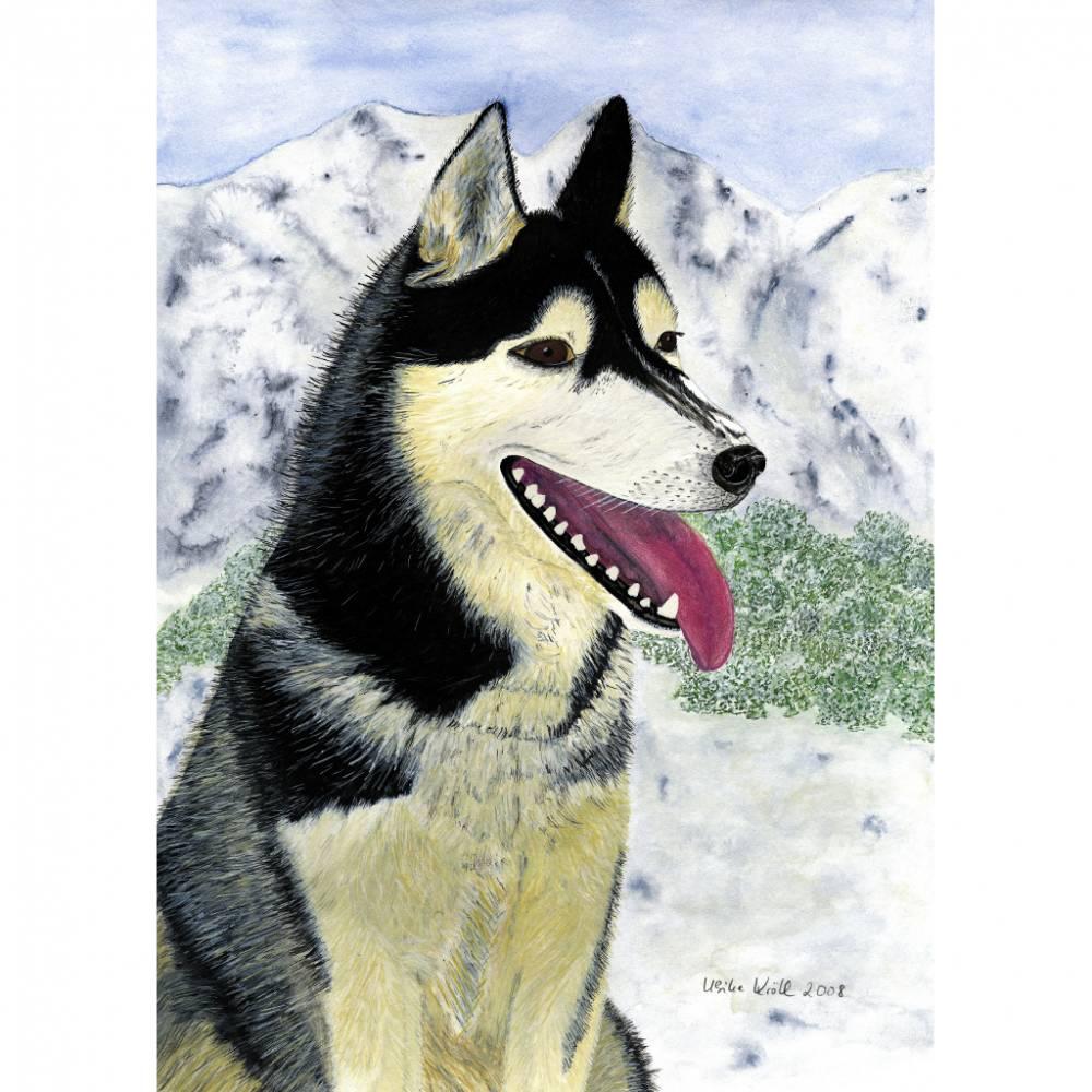 """Kunst–Postkarte - """"Husky""""  Bild 1"""