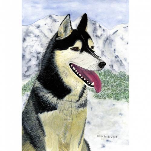 """Kunst–Postkarte - """"Husky"""""""