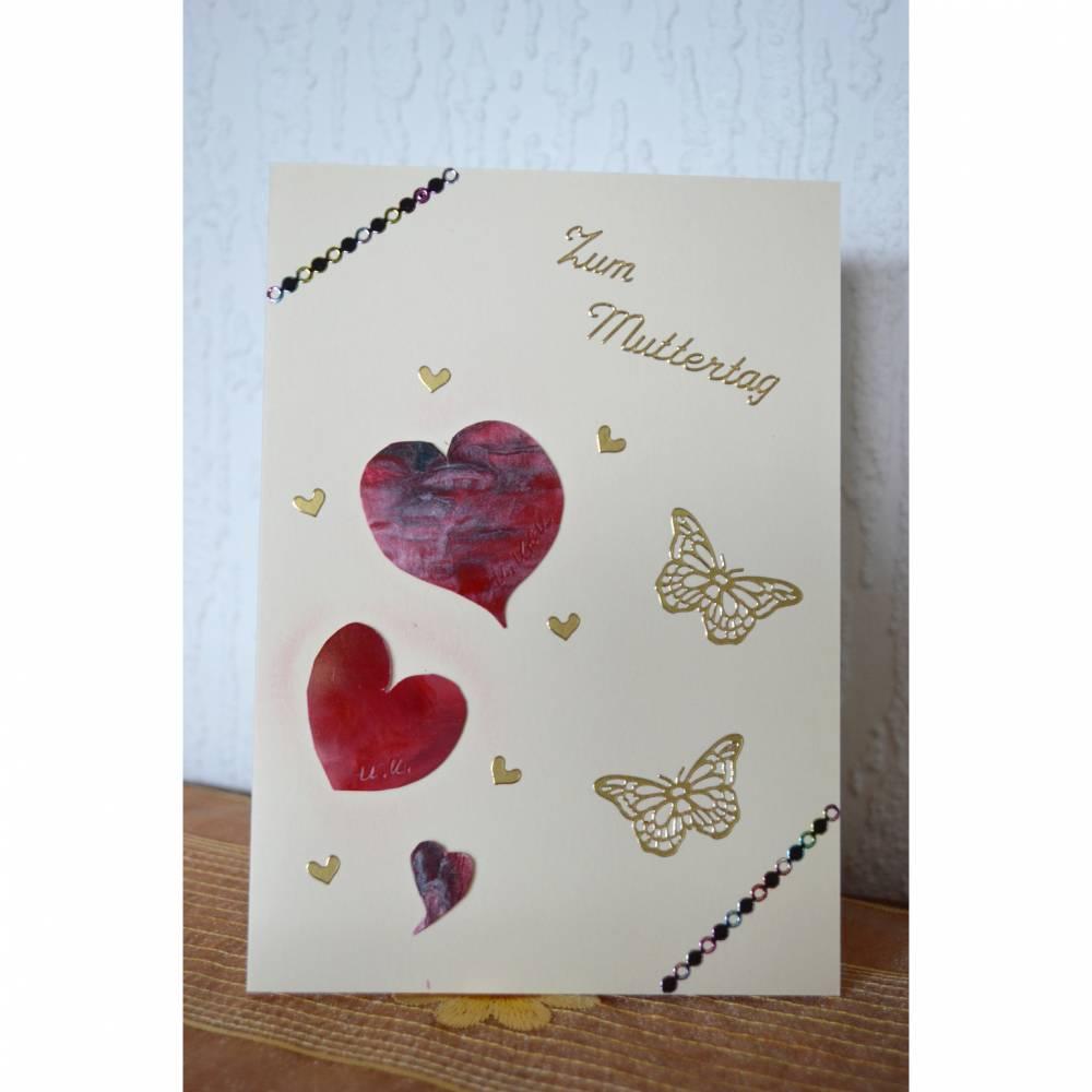 Grußkarte mit Herz zum Muttertag - handgefertigt Bild 1