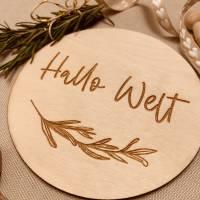 """Meilensteinkarte """"Hallo Welt"""", Holzschild, Meilenstein, Baby, Geburt Bild 1"""