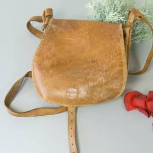 Rindsleder-Handtasche, Vintage Tasche aus hellem Leder, kleine Handtasche in used-Look, Vintage Tasche Bild 1