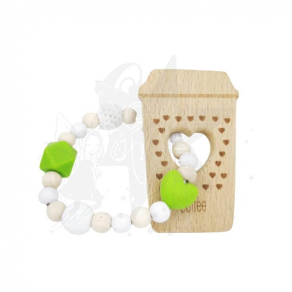 Greifling Kaffeebecher to go in grün/beige/weiß Bild 1