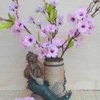 """Jutefigur """"Kleine Meerjungfrau"""" mit Vase, Utensilo, Stiftehalter, Altglas, Upcycling, Unikat Bild 1"""