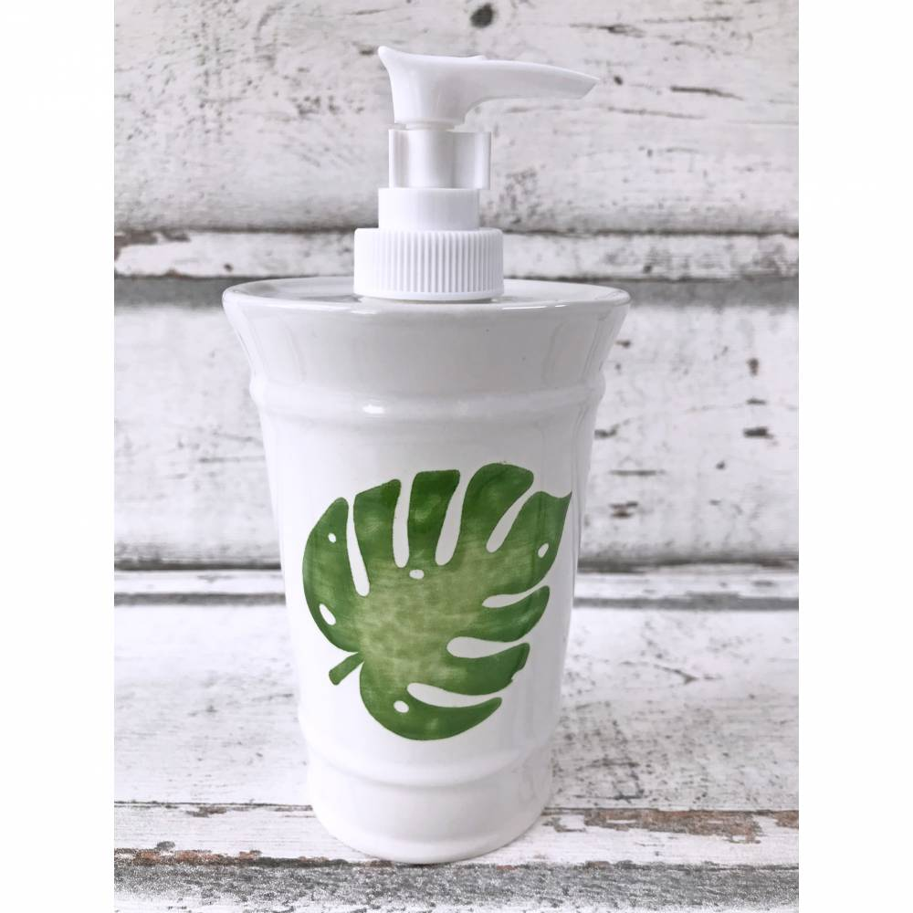 Seifenspender, Desinfektionsspender, Monstera Blatt, Keramik handbemalt Bild 1