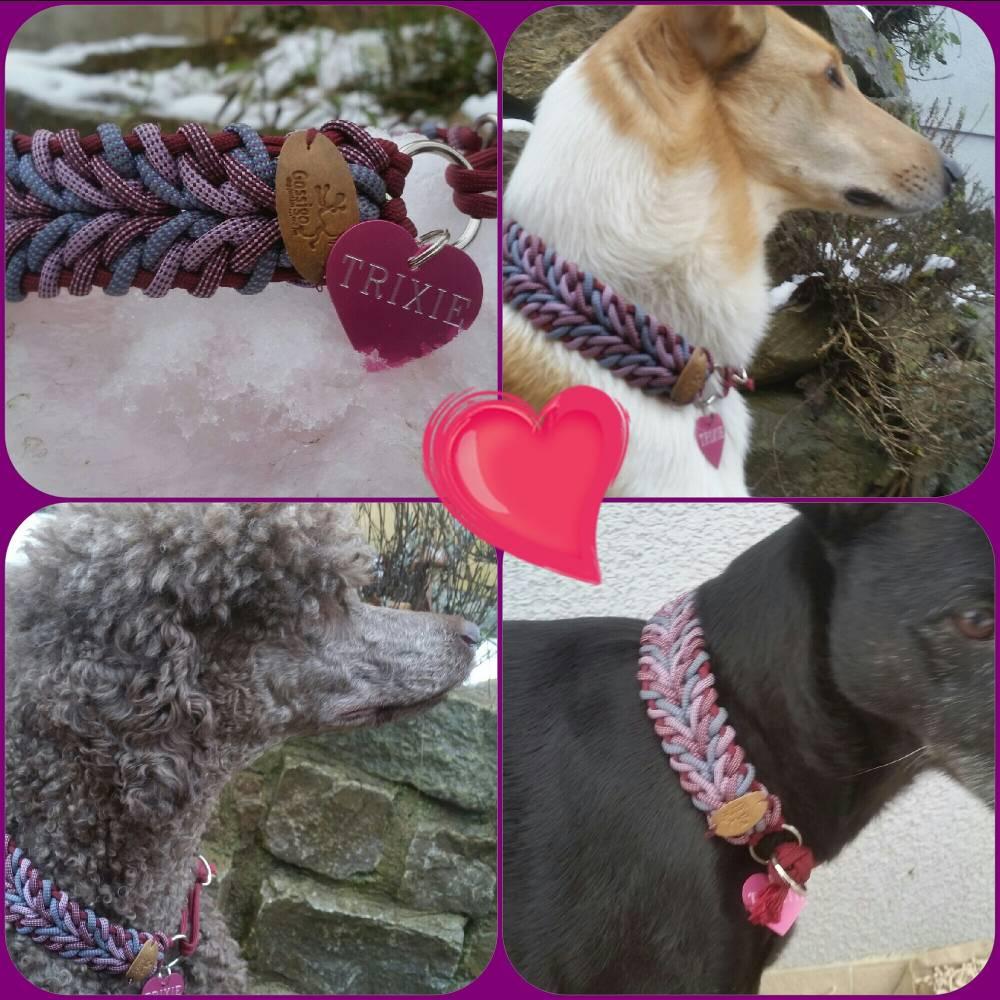 Geknotetes Hundehalsband 4 cm HERZSCHLAG  Bild 1