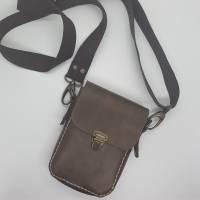 Kleine Handtasche Mini Umhängetasche Schultertasche Leder braun Bild 1