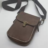 Kleine Handtasche Mini Umhängetasche Schultertasche Leder braun Bild 2