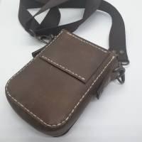 Kleine Handtasche Mini Umhängetasche Schultertasche Leder braun Bild 3